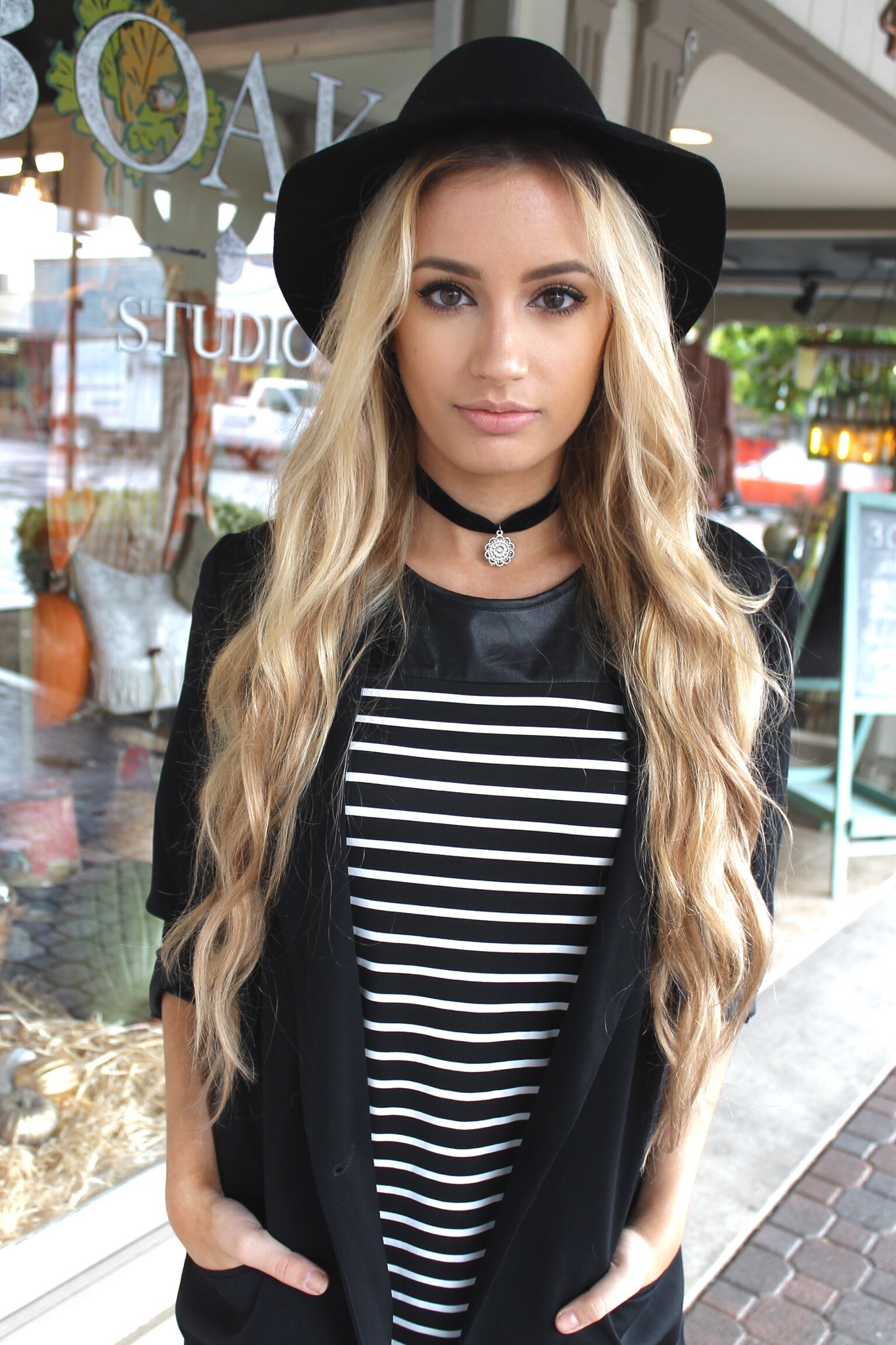 Fall stripes style by kaitlynn blazer similar here hat lulus necklace we who seek purse haute demand use code lovekaitlynn for 15 off hair bellami 24 dirty blonde extensions pmusecretfo Choice Image